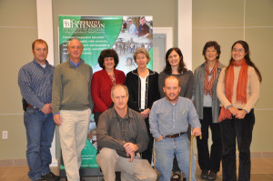 Pictured are members of the lima bean research project (from left, front row) Gordon Johnson and Andy Kness, a master's degree student, and (back row) Phillip Sylvester, Kent County Extension Agent and prospective graduate student on the project; Tom Evans, professor of plant pathology; Joanne Whalen, exentension specialist in entomology; Nancy Gregory, plant disease diagnostician; Nicole Donofrio, associate professor of molecular plant pathology; Kate Everts, professor of plant pathology, University of Maryland; and Emmalea Ernest, extension associate, vegetable crops.