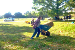 "Sarah Tull competes in the ""Day in the Life of a Farmer"" event during the Ag Olympics."