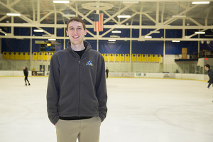 Marc Rothman, Junior in APEC (Applied Economics and Statistics), does statistics work for the UD hockey and basketball teams.