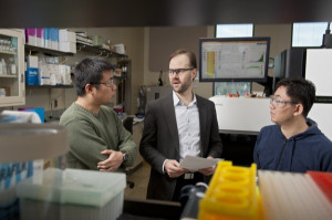 Blake Meyers (center) and researchers at UD are working with a team at Cold Spring Harbor Laboratory to consider how small RNAs in plants are activated and how they work to control transposons in the development of pollen.