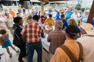 Visitors enjoy Cooperative Extension Centennial ice cream.