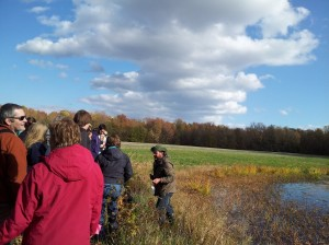 Larry Armstrong Jr. discusses conservation easements to the Wildlife Habitat Management class. Photo by Abby Walter