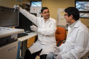 Deb Jaisi, CANR and his associate Sunendra Joshi work with:  1.	Silver phosphate, ultimate analyte for the phosphate oxygen isotope ratios measurement. Phosphorus from sediment is extracted, processed, and precipitated as silver phosphate.