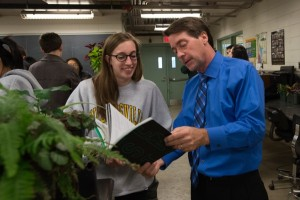 Students with undeclared majors meet CANR's Dean, Mark Rieger, and pot plants in Fischer Greenhouse.