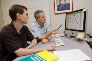 Computer Science student Colin Kern is working with Carl Schmidt, Professor of Animal and Food Sciences and  Associate Professor of Biological Sciences, on using computers to locate the genes of crocodiles, alligators, and gharials.