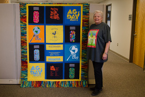 Donna Bailey, employee of the College of Agriculture and Natural Resources administration office, created a quilt called the Funky Blue Hen out of old Ag Day t-shirts.